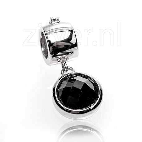 Side Click On charms facet zwart zirkonia