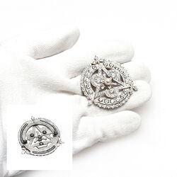 Gl Zilveren Broche Swarovski Kristallen