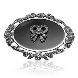 Gl Zilveren Broche Onyx Swarovski Kristallen