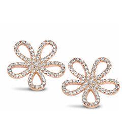 Silver Rose oorstekers  bloem zirkonia Ea6123r