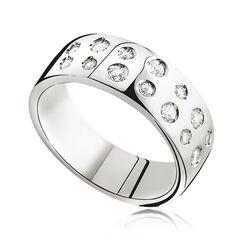 Brede zilveren ring met rijen zirkonia ZINZI ZIR574