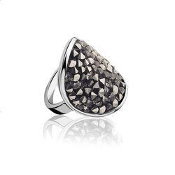 Zilver ring met grijs Swarovski Crystal zinzi ZIR938g