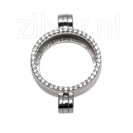 Zilveren medaillon met dubbel hangoog