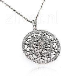 Gl Zilver Collier Met Hanger Swarovski Kristallen
