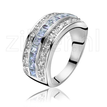 Zilveren Zinzi ring met wit en blauw zirkonia