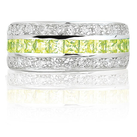 zilveren Zinzi ring licht groen zirkonia
