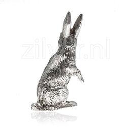 zilveren miniatuur tafelstuk rechtop zittende haas