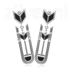 Gl Zilveren Oorstekers Onyx Swarovsky Crystals