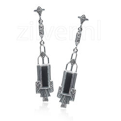 GL Oorhangers Zilver Crystals Onyx