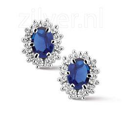 Zilver oorbellen blauw wit zirkonia
