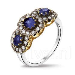 Zilveren Ring Saffier Zirkonia
