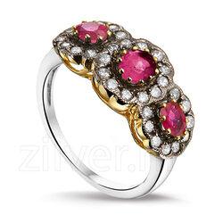 Zilveren Ring Robijn Zirkonia