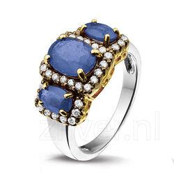 Zilveren Ring 3 Saffieren Zirkonia