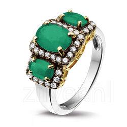 Zilveren Ring 3 Smaragden Zirkonia