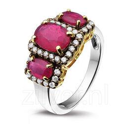 Zilveren Ring 3 Robijnen Zirkonia