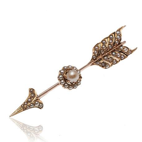 antieke gouden broche pijl bezet met parels