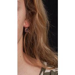 Roségouden oorbellen amethist