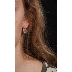 Roségouden oorbellen met rozenquartz