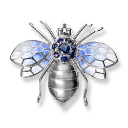 Zilveren broche vlieg emaille blauw saffier