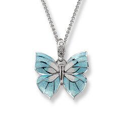 Zilver Collier Vlinder Diamant Blauw Emaille