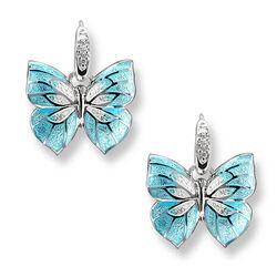 Zilveren oorhangers blauw wit met diamant