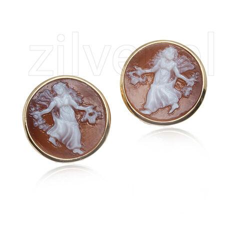 verguld zilveren oorstekers met camee Diluca Cameo Italiano