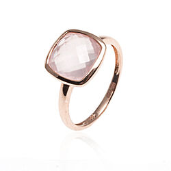 Roségouden ring rozenquartz 14 Krt.