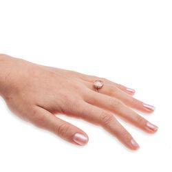 rosegouden ring met rozenquartz