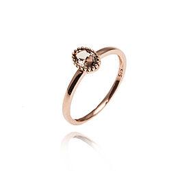 Rosegouden ring rookquartz ovaal