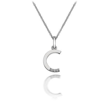 Zilveren hanger letter C met diamantje DP403 Hot Diamonds