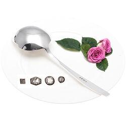 Zilveren Aardappellepel model Holle rib