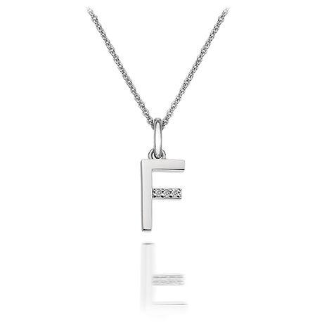 Zilveren hanger F met diamantje DP406 hot Diamonds
