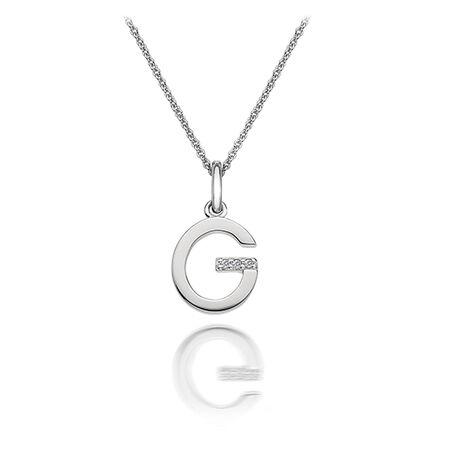 Zilveren ketting met hanger letter G met diamantje DP407 Hot Diamonds
