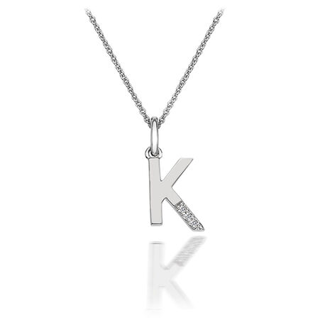 Zilveren hanger K met diamantje DP411 Hot Diamonds
