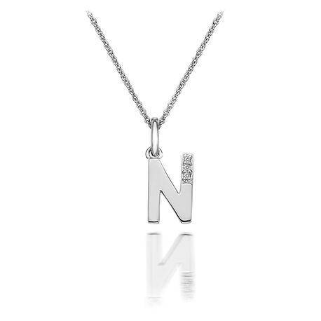 Zilver hanger N met diamantje dp414 Hot Diamonds
