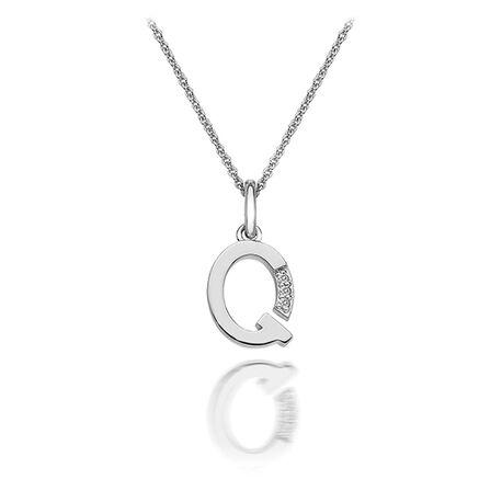 Zilver hanger letter Q met diamantje Dp417 Hot Diamonds