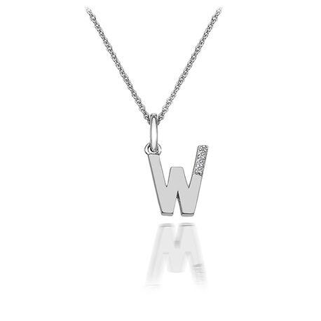 Zilveren hanger letter W met diamantje dp423 Hot Diamonds