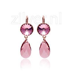 Rosé oorhangers roze paars Swarovski Kristal