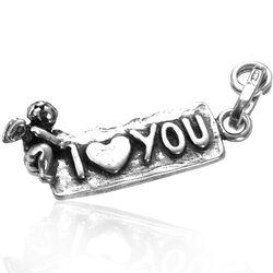 zilveren cupido met I love you hanger van Raspini