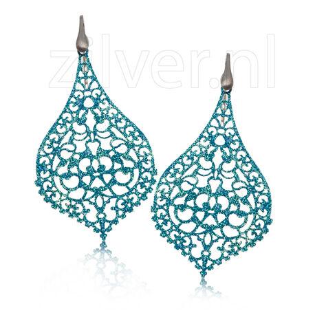 Oorhangers Blauw Glitter