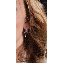 Zilveren oorbellen amethist markasiet en pareltjes