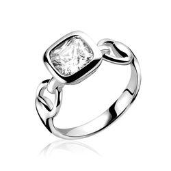 Zilver ring Horsebit vierkant zirkonia ZIR994