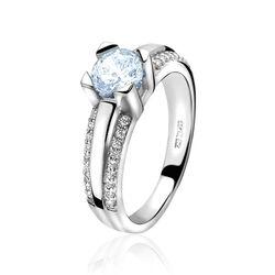 Zilveren ring blauw en wit zirkonia ZINZI ZIR826b