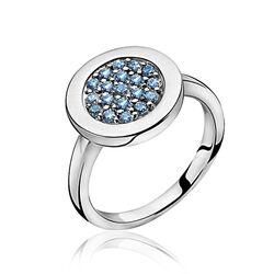 Zinzi Ring Blauw Zirkonia Rond Zir1005b