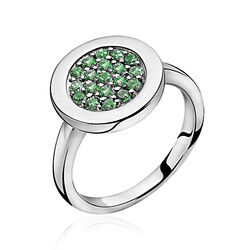 Zilveren ring rond met groen zirkonia ZIR1005g Zinzi