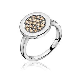 Zilveren ring met champagne kleur zirkonia ZIR1005c Zinzi