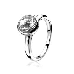 Zilveren ring met rond Swarovski ZINZI ZIR1006