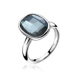 Zilveren ring met blauw Swarovski ZIR1007b Zinzi