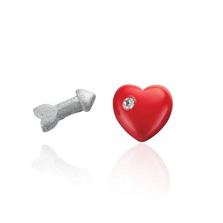 Zilver oorstekers pijn en rood hart met zirconia
