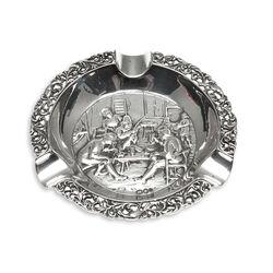 ronde asbak zilver met rokende mannen